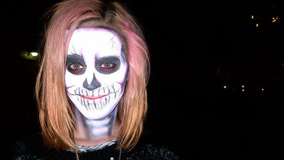 """Teenage Dreams"" singer Katy Perry disguised herself with skeleton face paint to mingle with the masses during Halloween Haunt at Knott's Berry Farm. She tweeted: ""Scariest night of my life! @knottsberryfarm"""