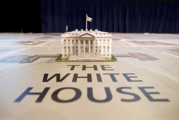 A model of the White House sits on a giant map during a media tour highlighting inaugural preparations being made by the Joint Task Force-National Capital Region for military and civilian planners.