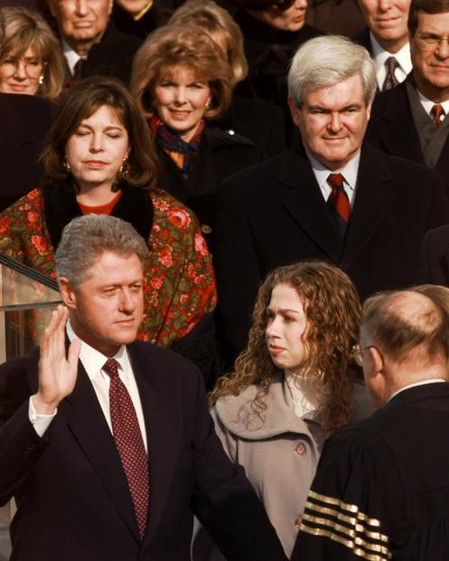 President Clinton is sworn in for his second term by Chief Justice William Rehnquist during the 53rd presidential inauguration in 1997.