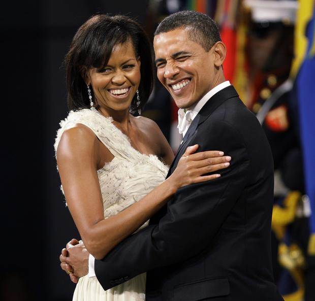 President Obama looks and First Lady Michelle Obama at the Western Inaugural Ball in 2009.
