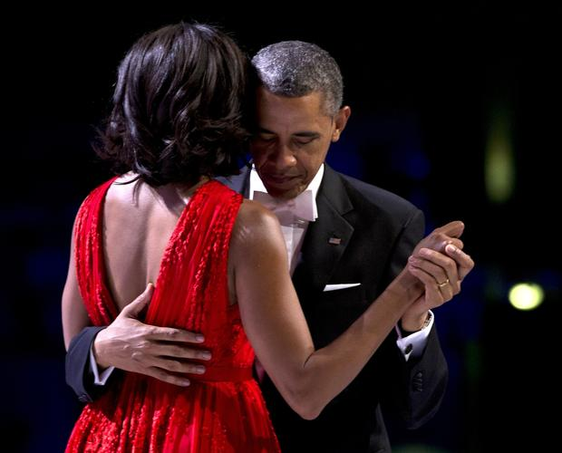 President Obama and First Lady Michelle Obama dance at an inaugural ball at the Washington Convention Center.