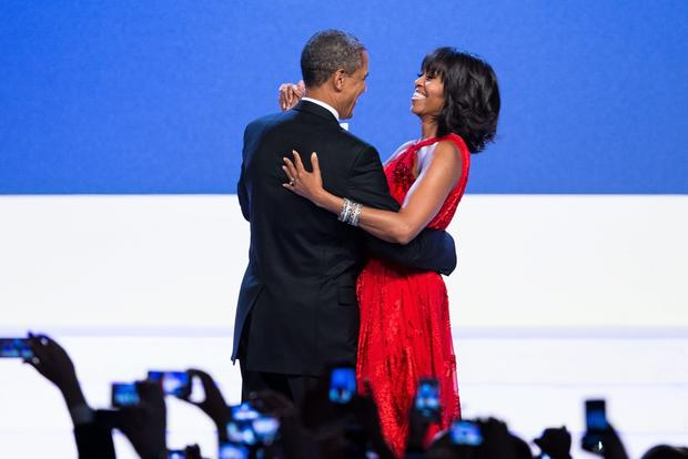 President Obama and First Lady Michelle Obama dance at the Inaugural Ball at the Washington Convention Center.