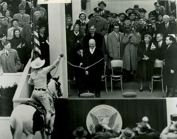 Cowboy Montie Montana lassoes President Eisenhower during his 1953 inaugural parade.