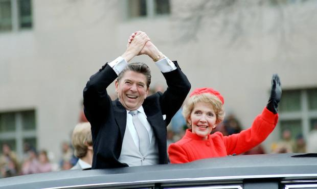 President Reagan and First Lady Nancy Reagan during the 1981 inaugural parade.