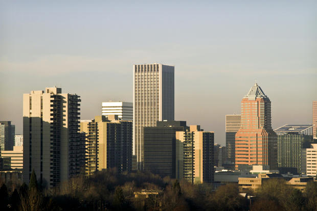 The downtown skyline in Portland, Ore.