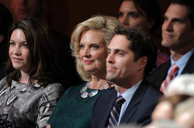 Mitt Romney's wife, Ann, and other family members wait for the debate to begin.
