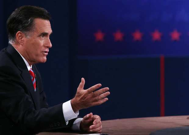 Republican presidential candidate Mitt Romney speaks during the debate.