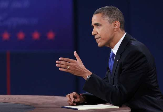 President Obama makes a point during the debate.