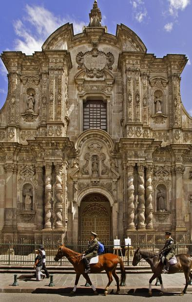La Compania Church rises in the historic center of Quito, Ecuador. It is one of the most significant examples of Spanish Baroque architecture in South America.