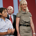 Cindy McCain, beige, cowl-neck dress