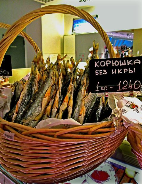 Salt-cured smelts go for 1,240 rubles ($30) per kilogram at Tsvetnoy shopping center's gourmet food market in Moscow.