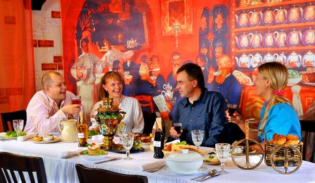 Russkaya Charka in St. Petersburg takes a kitschy approach to its decor but a serious approach to its traditional cuisine. Fare includes bear cutlets and elk stew.