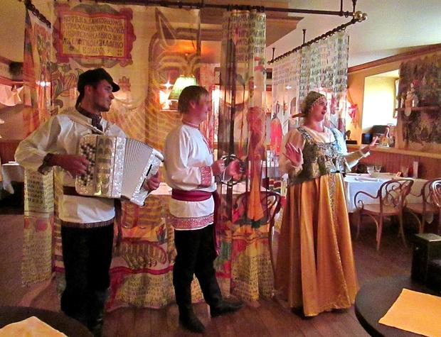 A traditional Russian folk ensemble performs at Russkaya Charka restaurant in St. Petersburg.