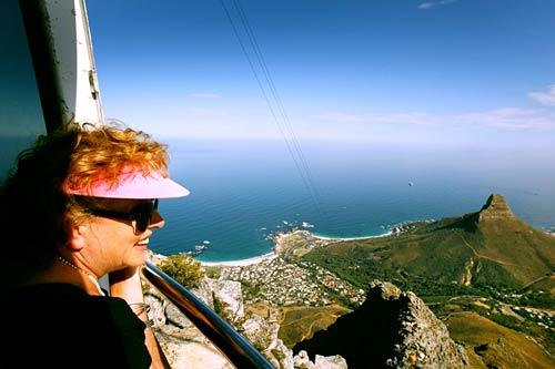 The view from the cable car up Table Mountain.