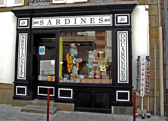 A shop sells mementos of the sardine trade in Douarnenez.