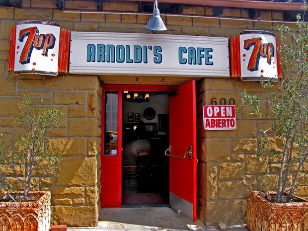 Arnoldi's Cafe  is a homey place situated in what used to be Santa Barbara's Little Italy. The restaurant boasts the obligatory mural of Lake Como, vintage wood booths, a maple dance floor, the head of an elk  over the bar and two beautiful boccie courts.