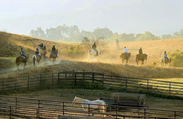 Alisal Ranch, tucked into the hills just outside Solvang, was born as a dude ranch in 1946. It has 73 rooms and suites set on 10,000 acres, with a 100-acre private lake, a busy corral, 50 miles of riding trails, two 18-hole golf courses, seven tennis courts, pool, spa and fitness center.