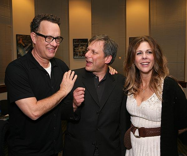 "Cast member Tom Hanks, director Ben Donenberg and cast member Rita Wilson talk during the party for the Shakespeare Center of Los Angeles' 21st annual ""Simply Shakespeare"" reading of ""The Merry Wives of Windsor"" at UCLA's Royce Hall on May 9."