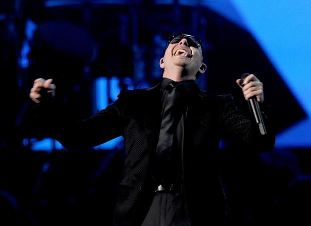 Pitbull performs.