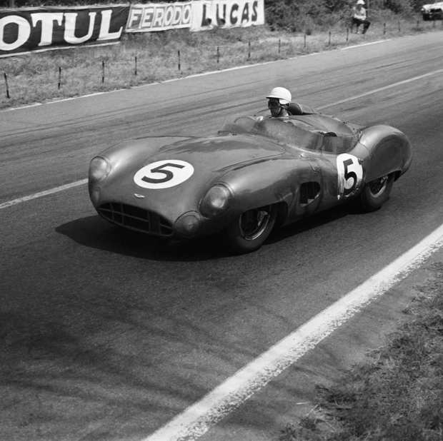 Carroll Shelby on the Le Mans circuit in France in June  1959. With his co-driver, Roy Salvadori, Shelby won the event, averaging 112.4 miles per hour.