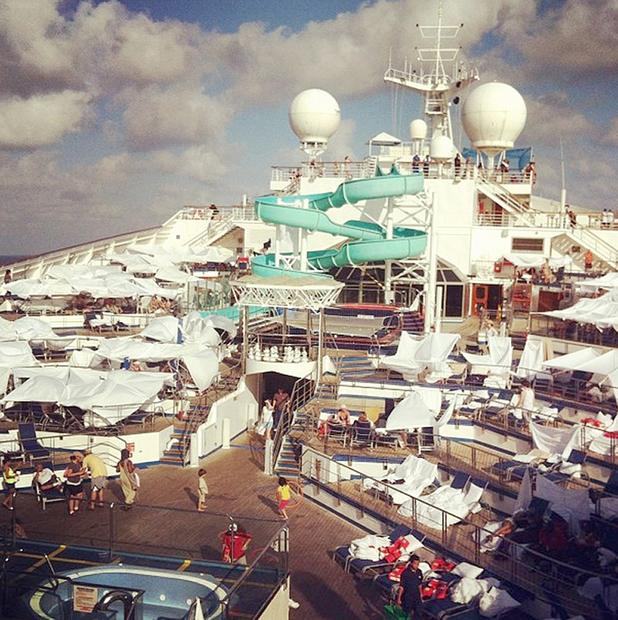 An Instagram photo from a passenger on the Carnival cruise ship Triumph  shows tents erected on the main deck of the ship.