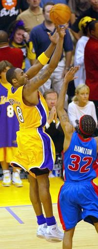 "The setting: On the verge of falling behind 2-0 in the series, <a href=""http://projects.latimes.com/lakers/player/kobe-bryant/"">Bryant</a> hit a three-point shot from 28 feet with 2.1 seconds left to tie the score at 89-all at Staples Center.<br> <br> The significance: Bryant's basket, which came after the Pistons decided not to foul him with a three-point lead, sent the game to overtime. The Lakers outscored Detroit, 10-2, in the extra five minutes for a 99-91 victory. After the game, Bryant called his basket ""the biggest shot I would ever hit."" It proved to be the last highlight for the Lakers, as they lost the next three games in Detroit in one of the Finals' biggest upsets."