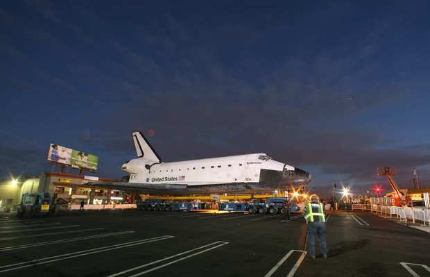 The space shuttle Endeavour was stopped to reconfigure the transporter that is carrying the shuttle for the two-day trek to the California Science Center.