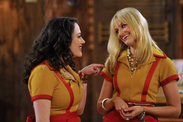 "Kat Dennings, left, and Beth Behrs on ""2 Broke Girls."""