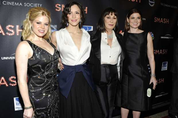 "The cast of NBC's new show ""Smash"" gathered in New York on Thursday night to celebrate the musical drama's Feb. 6 debut. The show centers on competing Broadway hopefuls Karen Cartwright (Katharine McPhee) and Ivy Lynn (Megan Hilty) as they try out for the lead role in a new musical about Marilyn Monroe.<br>