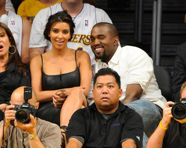 Kim Kardashian and Kanye West, who are expecting their first child, take in a Lakers-Nuggets playoff game last spring.