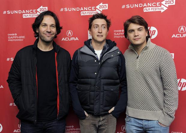 "David Gordon Green, center, writer-director of ""Prince Avalanche,""  with cast members Paul Rudd, left, and Emile Hirsch."