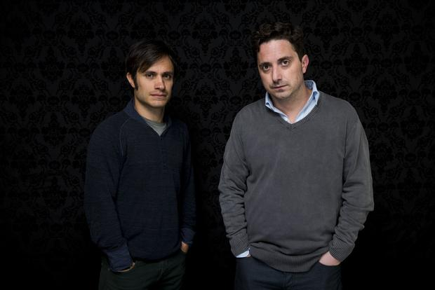 "Gael Garcia Bernal, left, and director Pedro Larrain of the movie ""Who Is Dayani Cristal?"""