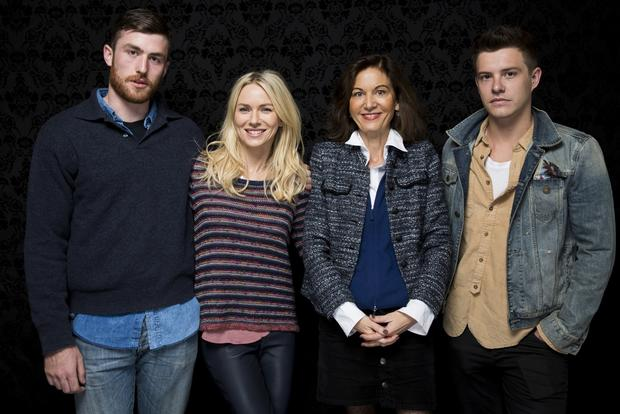 "James Frechevile, left, Naomi Watts, director Anne Fontaine and Xavier Samuel, from the movie ""Two Mothers."""
