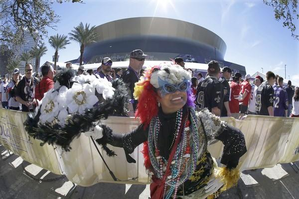 Jennifer Jones dances outside the Superdome before Super Bowl XLVII on Sunday.