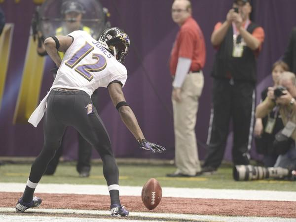 Ravens receiver Jacoby Jones celebrates after his Super Bowl-record 108-yard kickoff return for a touchdown to open the second half Sunday. Jones tied the NFL record of 108 yards earlier this season too.