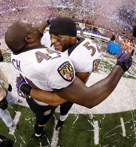 Ravens fullback Vonta Leach (44) and linebacker Ray Lewis celebrate their victory in Super Bowl XLVII on Sunday at the Superdome.