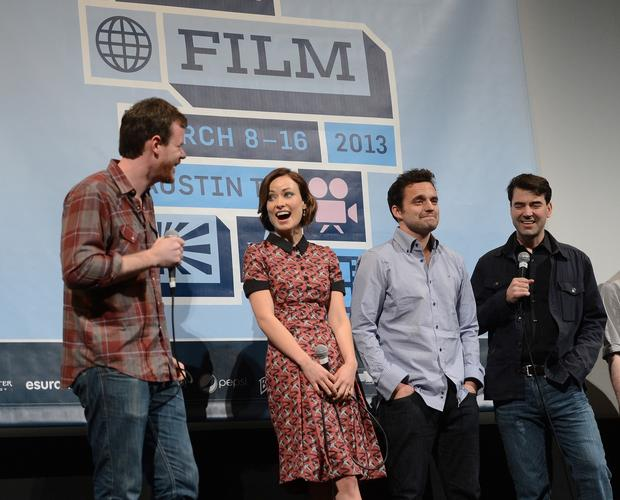 "Director Joe Swanberg, left, actress Olivia Wilde, actor Jake Johnson and actor Ron Livingston attend the world premiere of ""Drinking Buddies."""