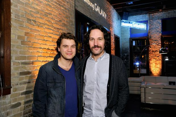 "Actors Emile Hirsch, left, and Paul Rudd attend the ""Prince Avalanche"" dinner."