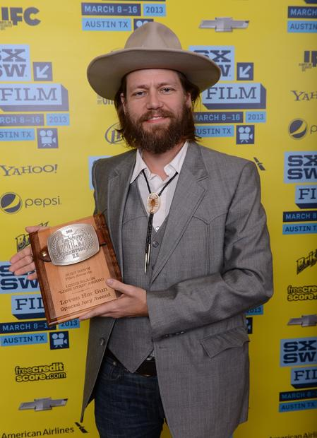 "Director Geoff Marslett, winner of the Louis Black ""Lone Star"" Award, with his plaque."