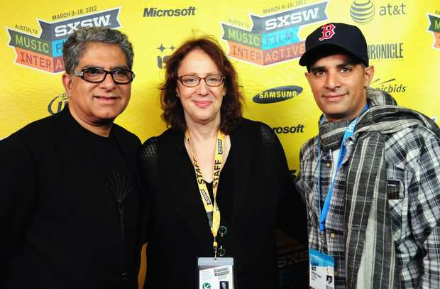 "Dr. Deepak Chopra, SXSW producer Janet Pierson and filmmaker Gotham Chopra at a screening of ""Decoding Deepak."""