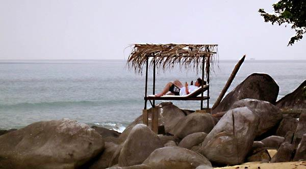 A waterfront cabana at Melina Beach, an eco-resort with a sea turtle hatchery.