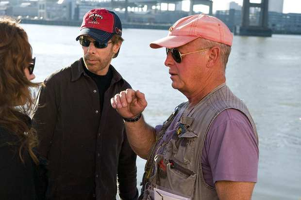 "Director Tony Scott, right, and Jerry Bruckheimer on the set of the action film ""Deja Vu"" in New Orleans in 2006."