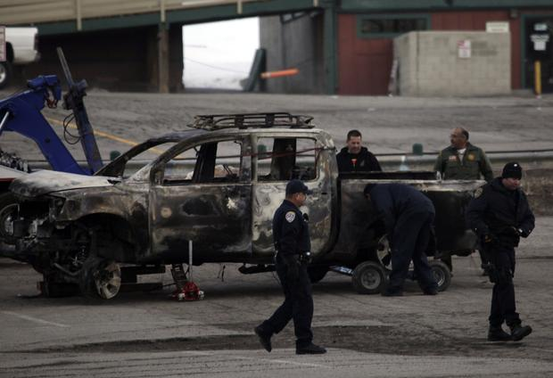 Law enforcement officials found the burned-out truck that police believe shooting suspect Christopher Jordan Dorner used to leave the scene of a killing in Riverside. The truck was found on a forestry road near the Bear Mountain ski area.