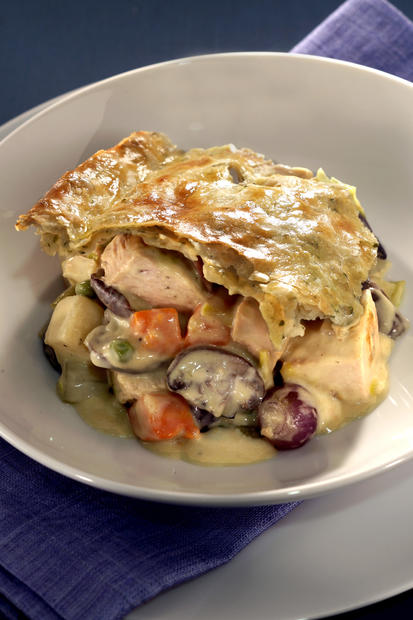 <b>BOUNTY:</b> Pot pie is filled with turkey, pearl onions, mushrooms, potatoes and peas.