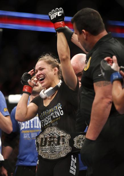 Ronda Rousey endured the toughest match of her mixed martial arts career, but her bantamweight title bout against Liz Carmouche on Saturday ended the same way the rest of them have -- with a first-round submission.
