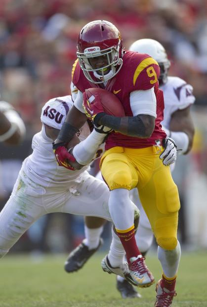 USC receiver Marqise Lee makes a catch in traffic in the second half against Arizona State on Saturday.