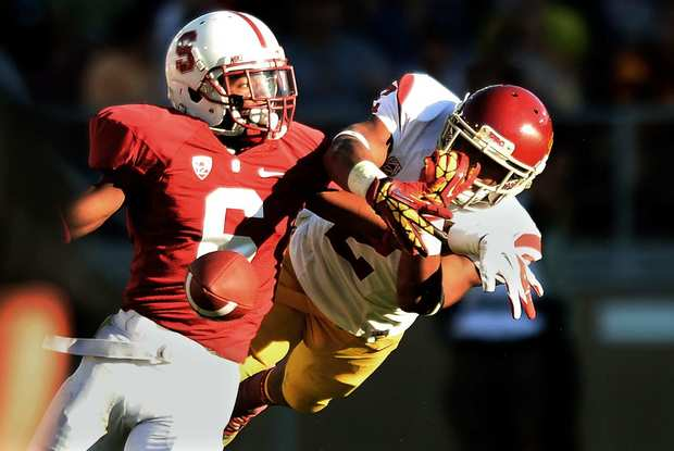 USC receiver Robert Woods can't makes the catch on a deep pass, but Stanford defensive back Terrence Brown was called for interference on the play.