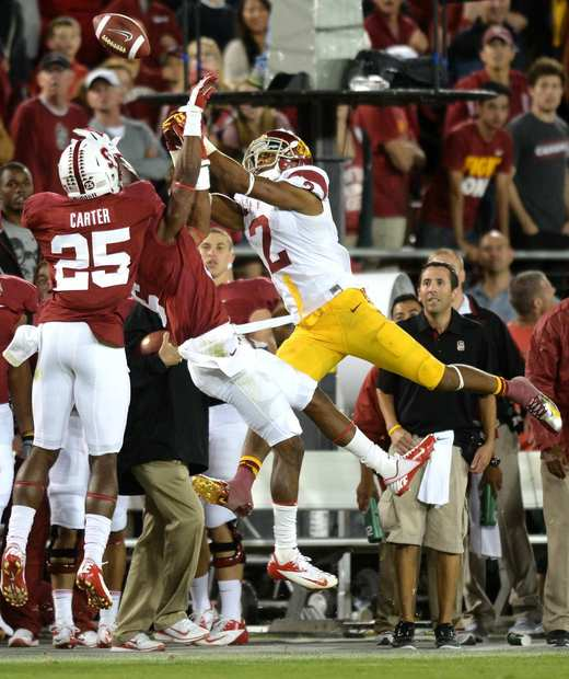 Trojans receiver Robert Woods can't come up with a fourth-down catch against the Cardinal defense in the final minute.