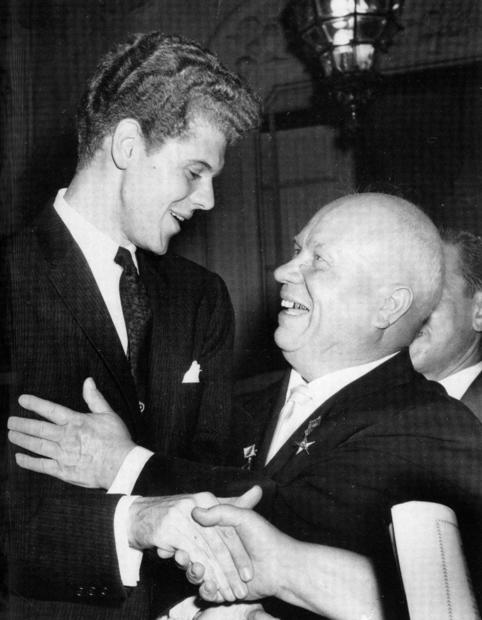 Soviet Premier Nikita Khrushchev, right, embraces Texas pianist Van Cliburn in Moscow after Cliburn won the first International Tchaikovsky Competition.