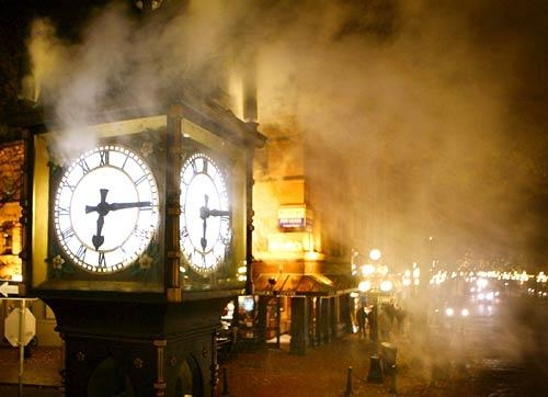 The Gastown Steam Clock in Vancouver, Canada, is a treat for the tourists and locals who stop to watch the clock blow its whistles every 15 minutes.
